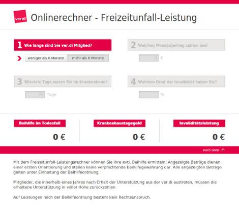Screenshot Freizeitunfall-Rechner