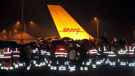 Warnstreik beim DHL-Drehkreuz Leipzig Halle vor der zweiten Verhandlungsrunde