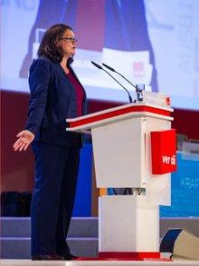 Bundesarbeitsministerin Andrea Nahles, SPD, spricht zu den Delegierten