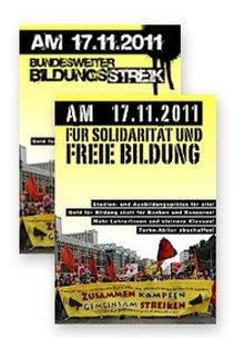 Plakat/Flyer für den Bildungsstreik am und um den 17. November 2011