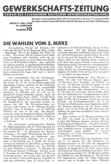 """Die """"Gewerkschafts-Zeitung"""" März      Die """"Gewerkschafts-Zeitung"""" kommentiert am 11. März"""