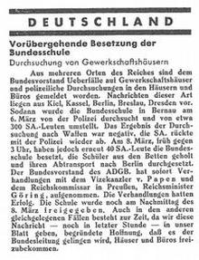 """""""Gewerkschafts-Zeitung"""" vom 11. März 1933"""