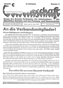 """""""Gewerkschaft"""" vom 18. März 1933"""