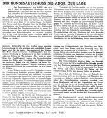 """""""Der Bundesausschuß des ADGB. zur Lage"""" in: """"Gewerkschafts-Zeitung"""" vom 15. April 1933"""