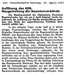 """""""Auflösung des ADB"""" in: """"Gewerkschafts-Zeitung"""" vom 15. April 1933"""