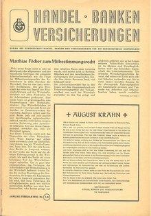 """Die erste Ausgabe der Mitgliederzeitschrift """"Handel, Banken und Versicherungen"""" vom Januar 1950"""