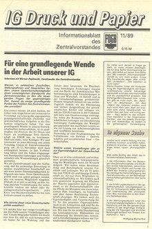 Interview mit dem Vorsitzenden des Zentralvorstandes der IG Druck und Papier der DDR, Werner Peplowski