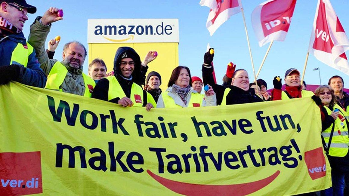 Amazon, Standort Graben – die Beschäftigten fordern weiter einen Tarifvertrag