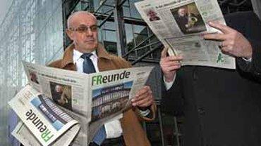 Protestaktion der Beschäftigten der Frankfurter Rundschau