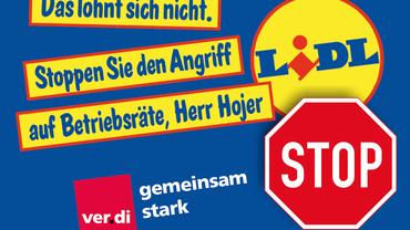 Im Lidl-Logistikzentrum in Graben bei Augsburg soll ein Betriebsratsmitglied gekündigt werden. ver.di ruft dazu auf, Postkarten an die Geschäftsführung zu schicken.