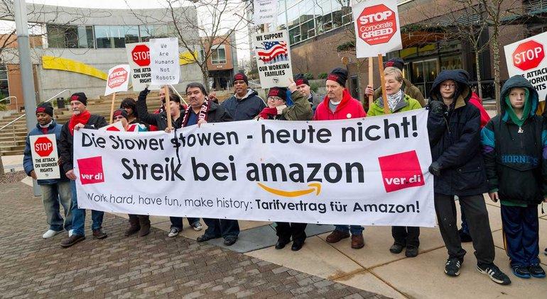 Protest vor der Amazon-Konzernzentrale in Seattle