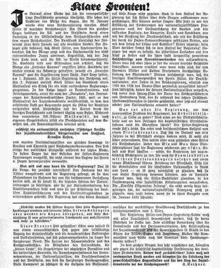 """Artikel der """"Gewerkschaft"""" vom 11. Februar 1933"""
