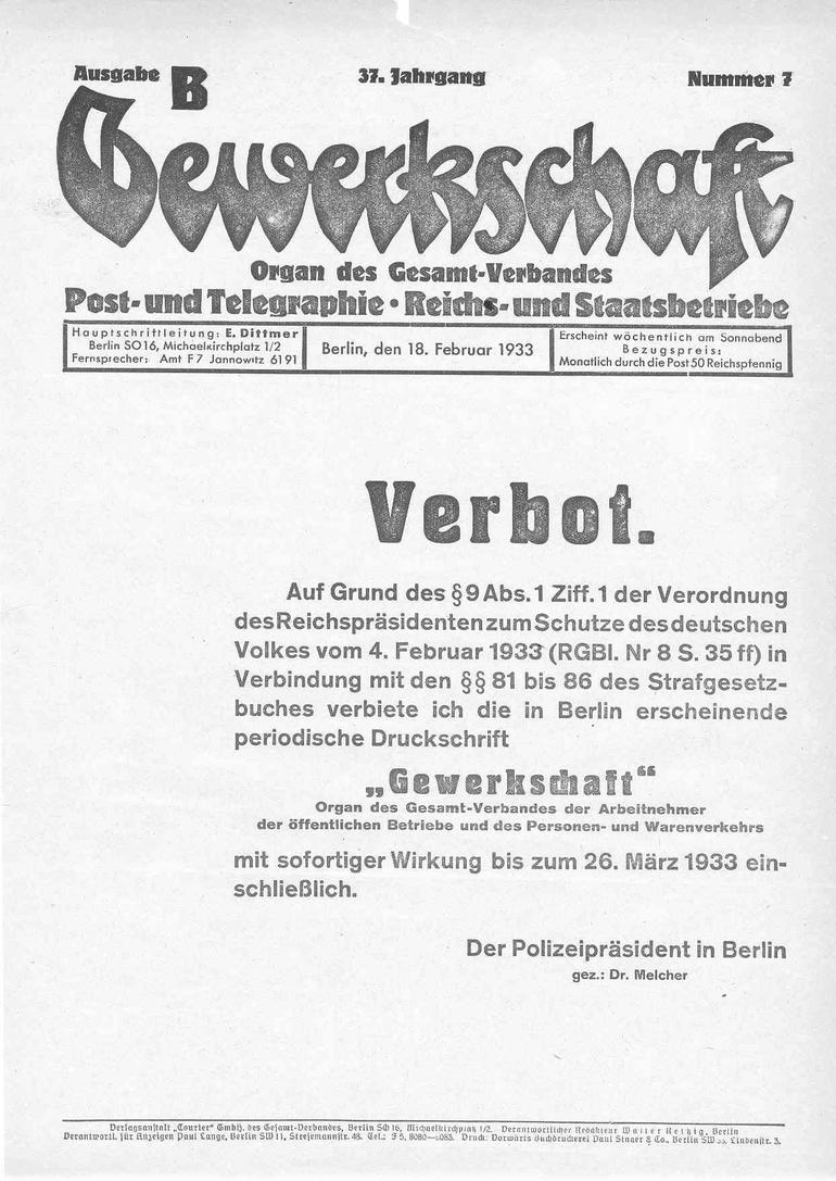 "18. Februar 1933: Nazis verbieten die Zeitung ""Gewerkschaft"""