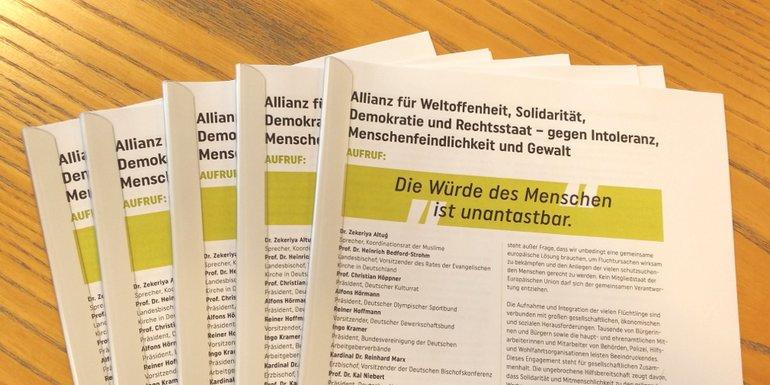 Allianz für Weltoffenheit, Solidarität, Demokratie und Rechtsstaat - gegen Intoleranz, Menschenfeindlichkeit und Gewalt