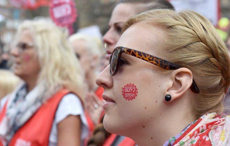 Viele der Streikenden in den Sozial- und Erziehungsdiensten streiken zum ersten Mal