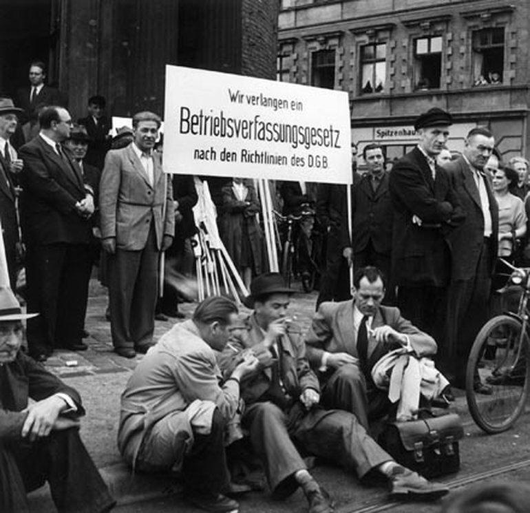 Protest gegen das erste Betriebsverfassungsgesetz