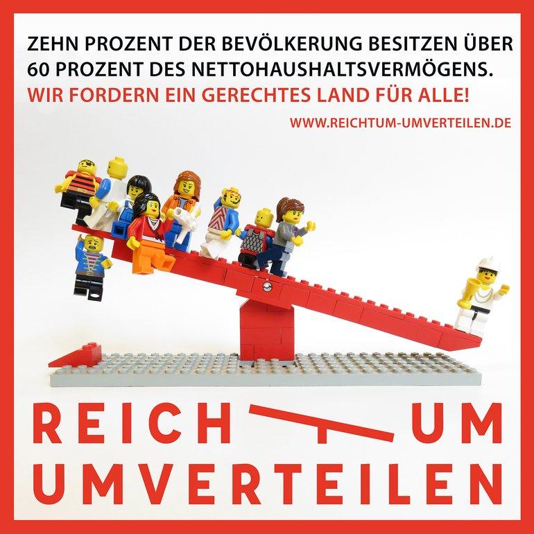"""Logo """"Reichtum umverteilen"""""""
