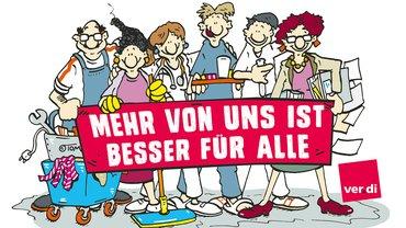 """Illustration Berufsgruppen im Krankenhaus/in der Pflege mit Banner """"Mehr von uns ist besser für alle"""""""