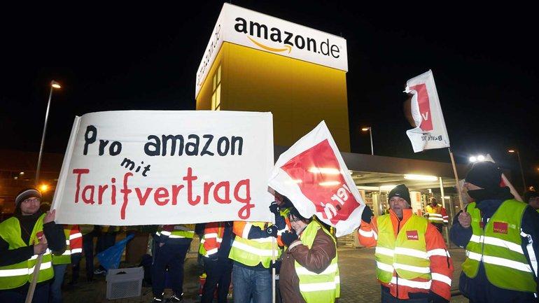 Seit den frühen Morgenstunden im Streik – die Amazon-Beschäftigten fordern weiterhin einen Tarifvertrag