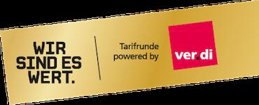 Wort-Bildmarke Tarifrunde öffentlicher Dienst Bund und Kommunen 2018: Wir sind es wert.