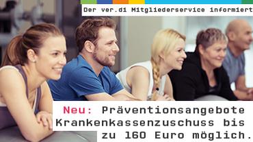 Abbildung Personengruppe mit Gymnastikbällen. Präventionsangebote - Krankenkassenzuschuss bis zu 160 Euro möglich.