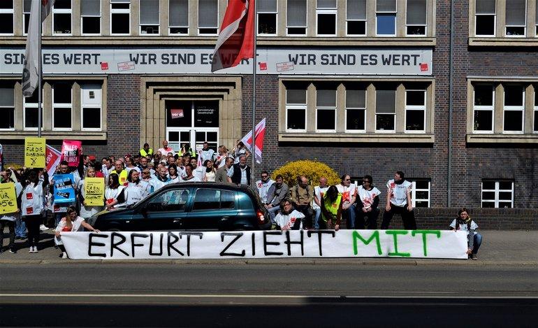 Auch in Erfurt streikten die Beschäftigten der Deutschen Telekom