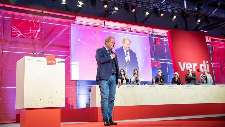 Da schlägt das Gewerkschafterherz – Frank Bsirske nach der Vorstellung des Geschäftsberichts