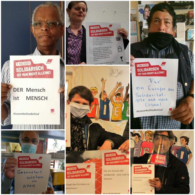 Fotos von der Fotoaktion des ver.di-Bundesmigrationsausschusses zum 1. Mai #leavenoonebehind