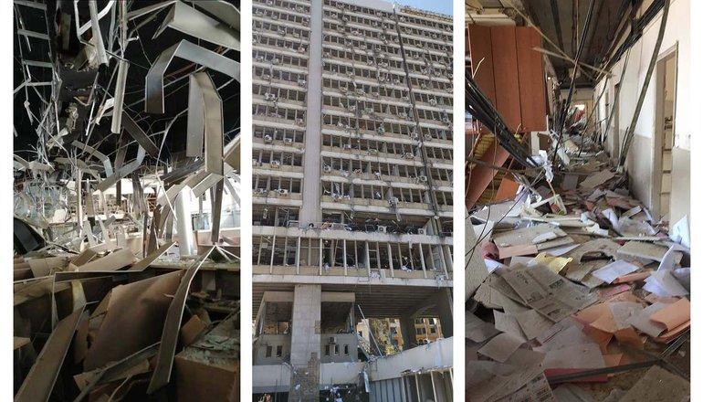 Bilder aus dem zerstörten Gebäude der Elektrizitätsgewerkschaft