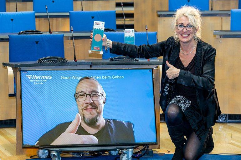 Preisverleihung in Zeit der Pandemie: Marc Brandt freut sich über den Deutschen Betriebsrätepreis in Bronze