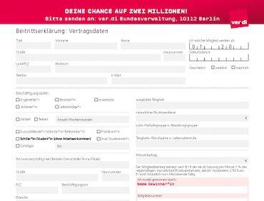 """ver.di Beitrittserklärung - """"Gemeinsam gewinnen"""""""