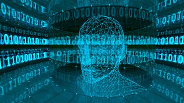 Bild zeigt Grafik - Kopf eines Menschen umgeben von Nullen und Einsen